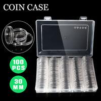 100er Münzkassette 30mm Münzenkoffer Münzkoffer Box Münzkapseln Münzenkapseln