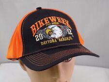 2012 DAYTONA BEACH BIKE WEEK ORANGE ADJUSTABLE BASEBALL HAT CAP PRE-OWNED ST44