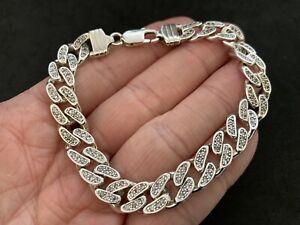 MensSterling Silver Cubic Zirconia Bracelet 8.5 inch.