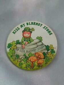 "Vintage Hallmark ""Kiss My Blarney Stone"" Leprechaun St. Patrick's Day Button Pin"
