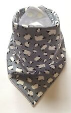 Baby Bandana Dribble Bib. Mini Sheep on Grey. Great Gift! My Little Owl Bibs