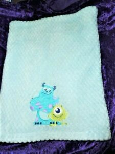 Disney Baby Monsters Inc Baby Blue Blanket Mike Sully Plush Fleece