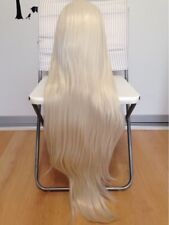Super Long white platinum  blonde straight hair. lace front wig.human
