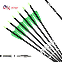 US 12PK 30 Inch Archery Hunting Carbon Target Arrows Compound/Recurve Longbow