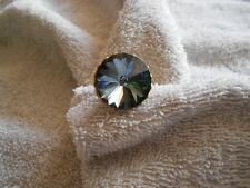 Blue Rivoli Crystal Gold Tone Adjustable Cocktail Ring