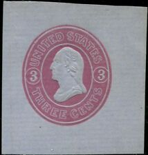 #U36 Unused Xf+ Cut Square 3¢ Pink, Blue Cv $80.00 Bp8542