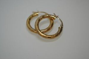 9ct Gold Patterned Hoops