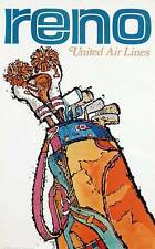 UNITED AIRLINES RENO NEVADA GOLF JEBARY Art 1969 Vintage Travel poster 25x40 NM