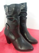 "Women's H.G.Bass&Co. Black 3"" High Heel Buckle Boots Hattie 7M #9"