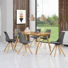 [en.casa]® Esstisch Bambus mit 6 Stühlen grau gepolstert Tisch [180x80] Stühle