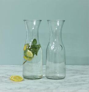 2 x Water Carafe Glass Fridge Milk Bottle Pitcher 1 Litre Jug Wine Decanter