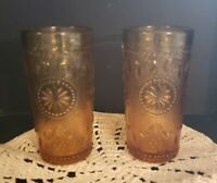 Set Of 2 Indiana Amber Tiara Sandwich Depression Juice Glasses 4 oz