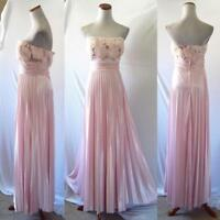 NEW Speechless Strapless PINK Rosette BUST Pleated SATIN BRIDESMAID Prom GOWN M