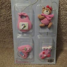 A Tree for Me! Ornaments - Medium Pink Baby Themed - 4 pcs..