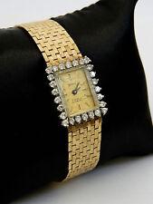 Geneve 14K Gold Swiss 17 Jewel Mechanical Ladies Watch w/Diamond Bezel Incabloc