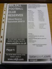 02/03/2010 Walsall Reserves v West Bromwich Albion Reserves  (single sheet, Scor