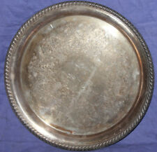 Vintage Wm Rogers silver plated ornate floral serving plate tray