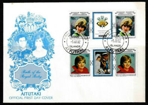Aitutaki 1982 Birth Of Royal Baby - Two Strips Of Three Stamps FDC  - Mint