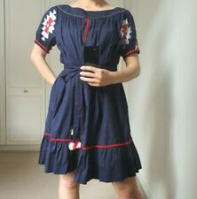 Tory Burch 4 S M navy vyshyvanka dress embroidered off shoulder belt red cotton