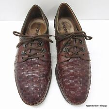 Saxone 43 EU 10 US Brown Woven Leather Mens Shoes Italy