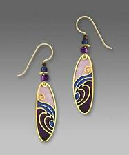 Adajio Earrings Gold Plated Waves Overlay Purple Blue Oval Hand Made in USA
