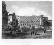 Heidelberg, Schloss, die Ritterhalle, Original-Stahlstich von 1857