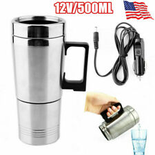 12V 500ml Water Heater Mug Car Electric Kettle Coffee Tea Cup Stainless Steel US