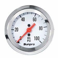 Sunpro Analog StyleLine Mechanical Oil Pressure Gauge  White Face mechanical