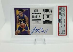 2017 Panini Contenders Lonzo Ball Rookie Ticket Horizontal Auto /75 PSA 9 Lakers