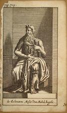 stampa antica incisione mosè michelangelo statua old print roma kupferstich