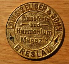 Alte Medaille / Auflage BRESLAU Louis Seliger & Sohn / Pianoforte und Harmonium