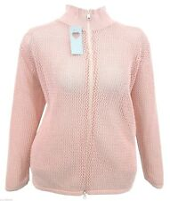 UK SELLER Womens Pink Turtle Neck Cardi Knit Jacket Zip Top *LICK*