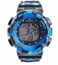 Big Dial Kids Boys Wristwatch Alarm Chrono Digital Wrist Watch Blue Green CD