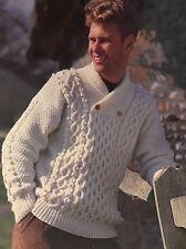 "CM6 - Knitting Pattern - Men's Aran Jumper - Sizes - 34-44"""