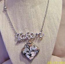 Schnauzer hand painted silvertone Jasper pendant necklace earring set
