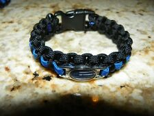 "Thin Blue Line ""Backwood Paracord"" Survival Bracelet  - Support Law Enforcement"