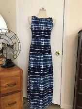Jones New York Women's Sport Maxi Dress Swim Cover Up Blue Stripe Tye Dye SZ SM