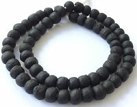 Ghana African Matched Transparent Matte Black Recycled glass trade beads