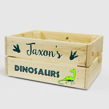 Personalised Wooden Dinosaur Storage Box for Kids BOY GIRL Crate Gift