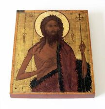 "ORTHODOX ICON ON WOOD ""SAINT JOHN THE BAPTIST"" Yaroslavl 1570y Replica 13x16.5cm"