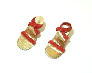 """Vintage 1950's 10""""-10 1/2"""" Fashion Doll Red Elastic Shoes Clear Glitter Heels"""