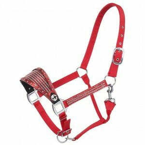 Tough 1 Red Nylon Horse Sized Bronc Halter w/Foil and Crystal Overlay 50-3039