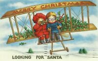 Antique Christmas Postcard Biplane Children Embossed Felton Delaware Hubbard