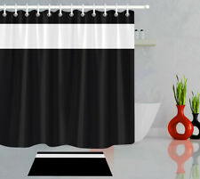 Bathroom decor shower curtain set waterproof fabric hook simple black and white