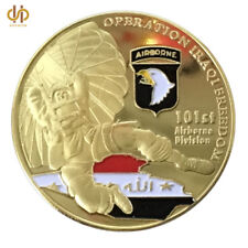 101 ST AIR BORNE DIVISION IRAQI FREEDOM 24K GOLD PLATED COIN IN AIR TIGHT HOLDER