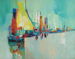 Nicola Simbari (Italian 1927-2012) Oil on Canvas, Green Harbor, Signed.