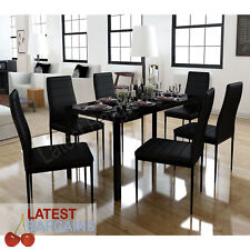 7 Piece Dining Set Black Table & 6 Chairs Setting Modern Kitchen Glass Top
