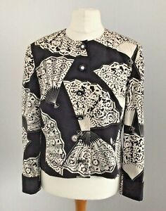 True Vintage Late 80's Louis Feraud Silk Black/Ivory Fan Design Jacket UK 16