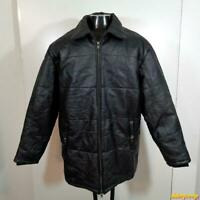 MAZZONI Soft Leather JACKET men Size XL Black insulated zippered