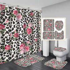 Leopard Print Rose Shower Curtain Bath Mat Toilet Cover Rug Home Bathroom Decor